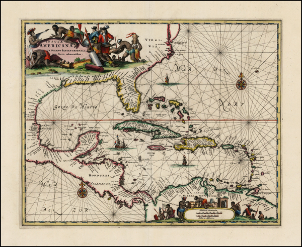 8-South, Southeast, Caribbean and Central America Map By John Ogilby