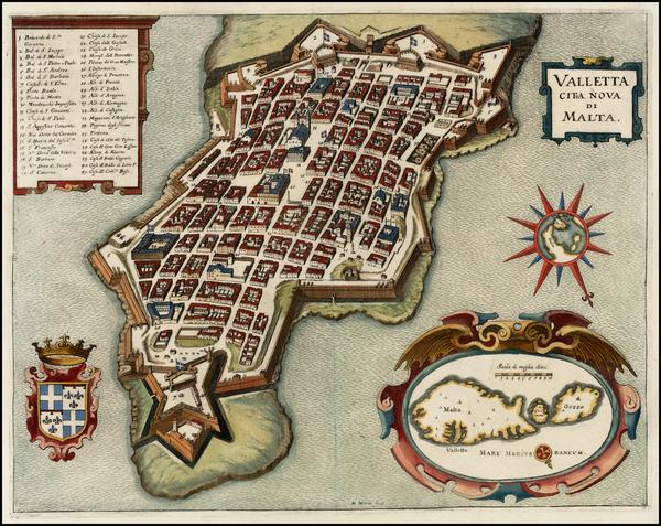 63-Malta Map By Matthaus Merian