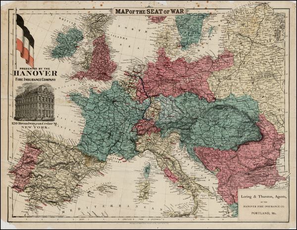 68-Europe, Europe, France, Germany, Austria, Greece and Mediterranean Map By G.W.  & C.B. Colt