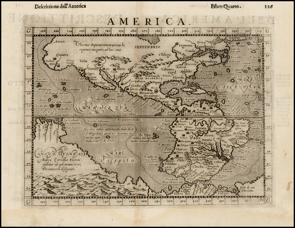 26-Western Hemisphere, South America, Australia and America Map By Girolamo Ruscelli / Giovanni Bo