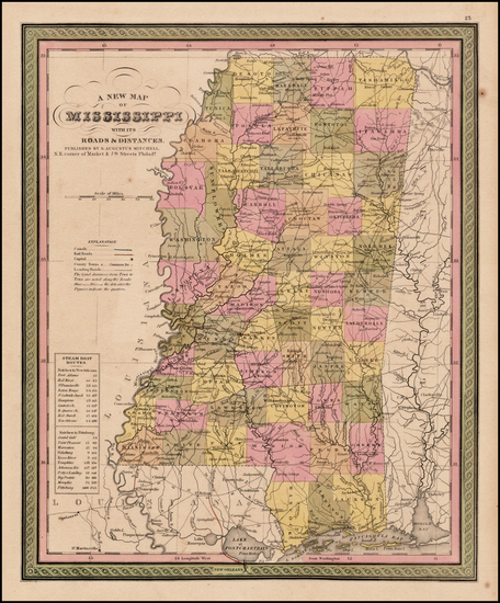 68-South and Mississippi Map By Samuel Augustus Mitchell