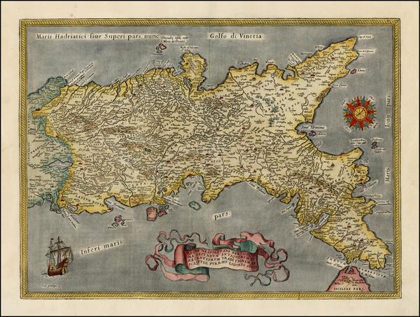 4-Italy Map By Abraham Ortelius