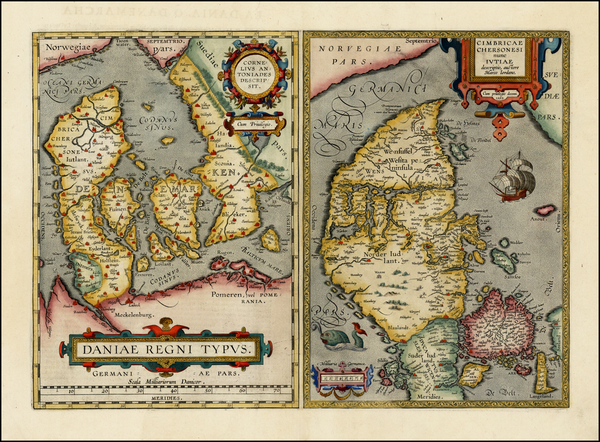 13-Denmark Map By Abraham Ortelius