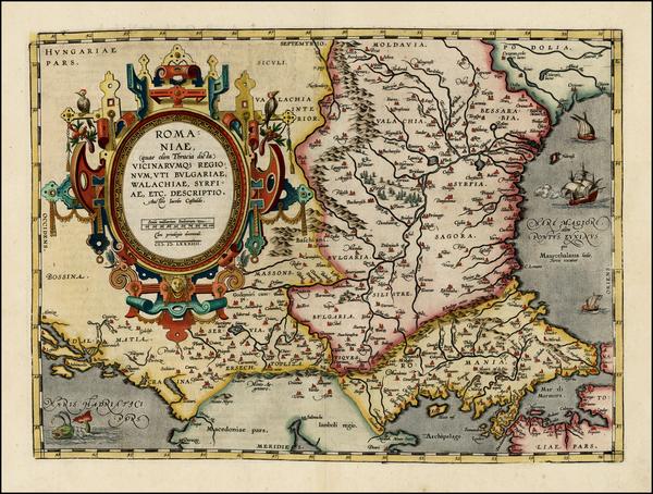 74-Ukraine, Romania and Balkans Map By Abraham Ortelius