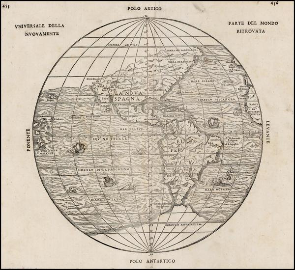 83-World, Western Hemisphere, Polar Maps, South America and America Map By Giovanni Battista Ramus
