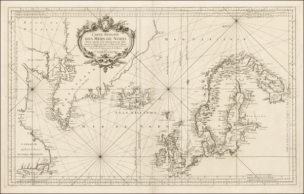 37-Polar Maps, Atlantic Ocean, Canada and Scandinavia Map By Jacques Nicolas Bellin