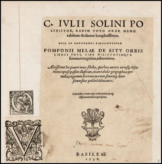37-Europe, Curiosities and Title Pages Map By Caius Julius Solinus