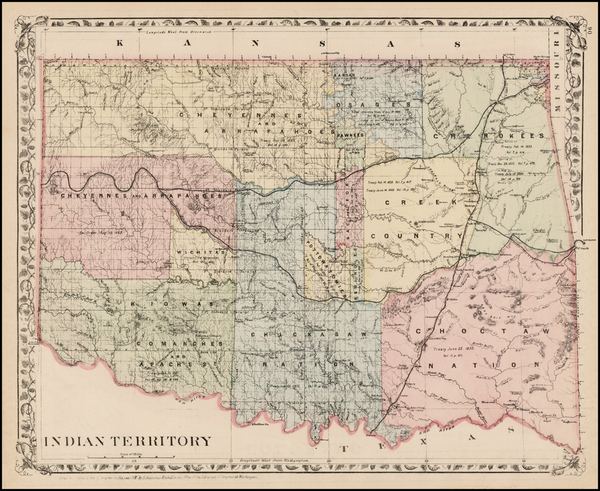 28-Plains, Oklahoma & Indian Territory and Southwest Map By Samuel Augustus Mitchell Jr.