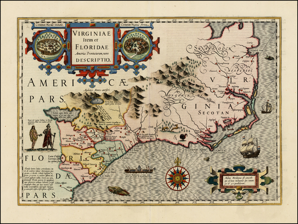 46-Mid-Atlantic and Southeast Map By Jodocus Hondius