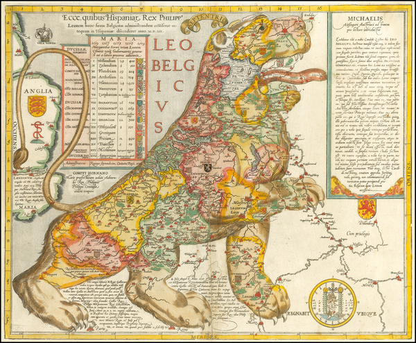 49-Netherlands, Curiosities and Comic & Anthropomorphic Map By Michael Aitzinger