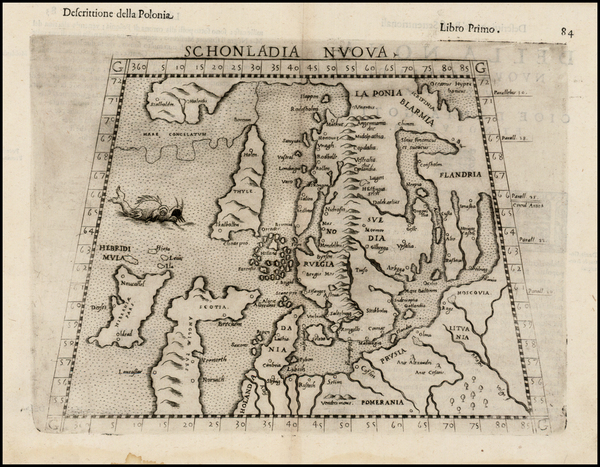 87-Baltic Countries and Scandinavia Map By Girolamo Ruscelli