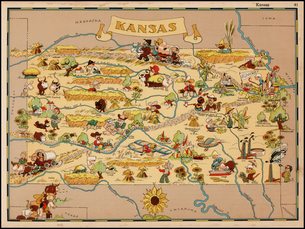 Plains and Kansas Map By Ruth Taylor White