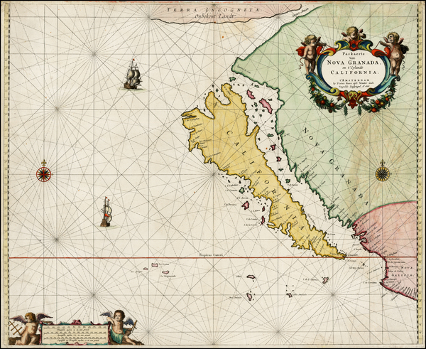 47-Southwest, North America, Baja California, Pacific and California Map By Pieter Goos