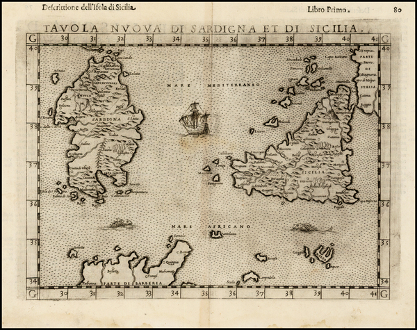 20-Italy and Balearic Islands Map By Girolamo Ruscelli