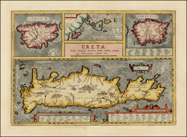 81-Corsica, Sardinia and Greece Map By Abraham Ortelius
