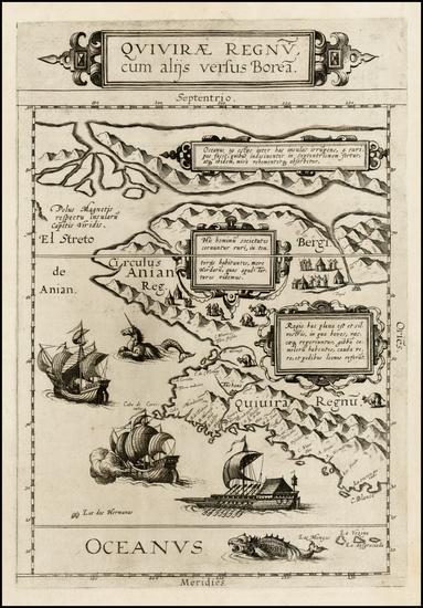 88-Polar Maps, Alaska, Canada, Pacific and California Map By Cornelis de Jode