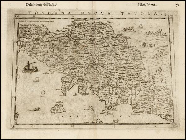 87-Italy Map By Girolamo Ruscelli