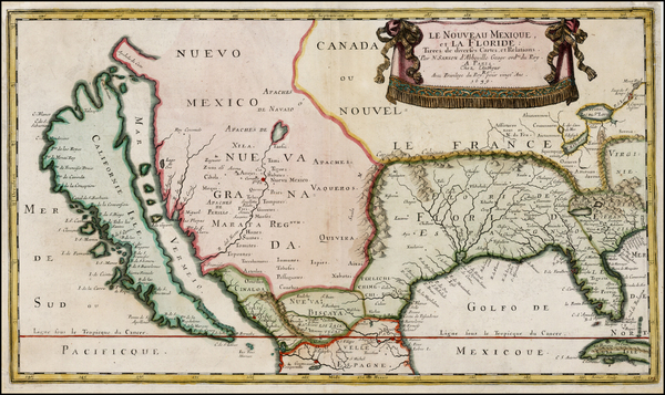 100-Florida, Southeast, Texas, Midwest, Southwest and California Map By Nicolas Sanson