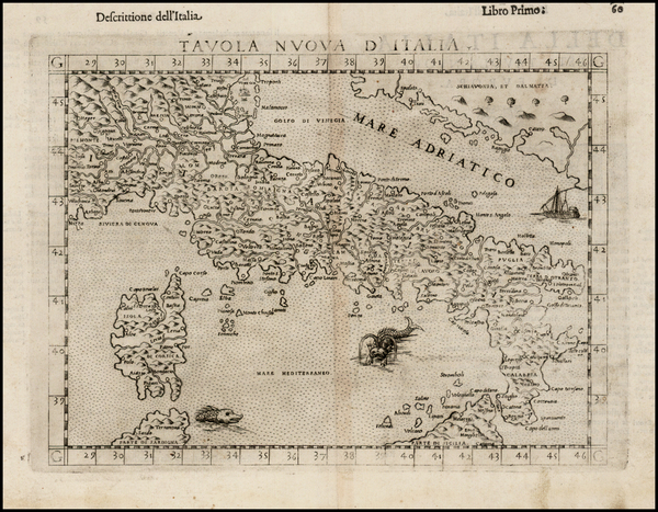 35-Italy and Balearic Islands Map By Girolamo Ruscelli
