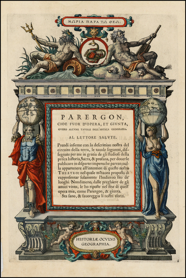 43-Curiosities and Title Pages Map By Abraham Ortelius