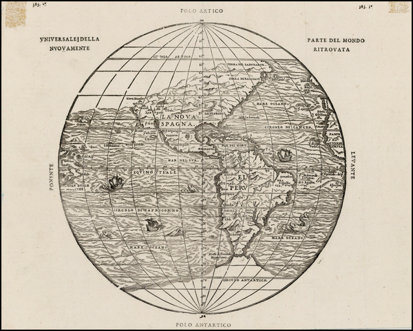 8-World, Western Hemisphere, Polar Maps, South America and America Map By Giovanni Battista Ramus