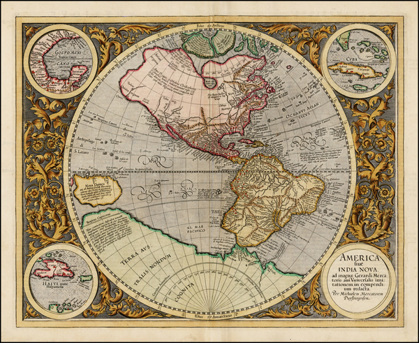 60-World, Western Hemisphere, Polar Maps, South America and America Map By Michael Mercator