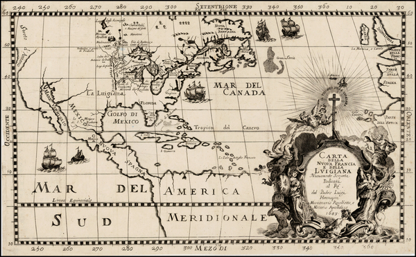 4-United States, Midwest and North America Map By Louis de Hennepin