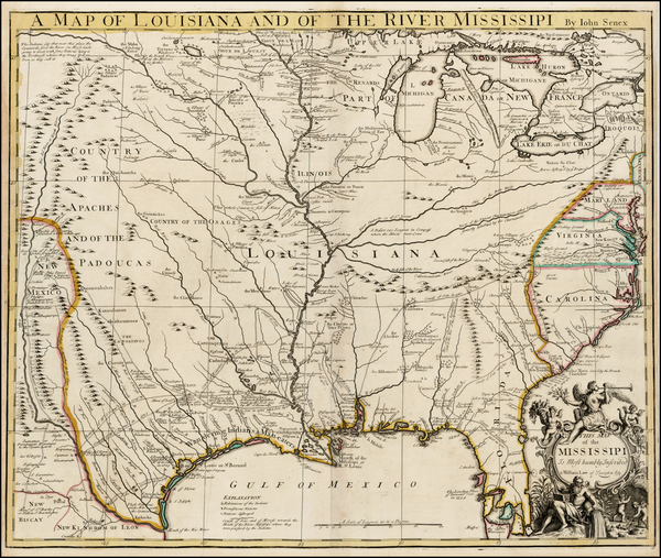 92-United States, South, Southeast, Texas, Midwest and Plains Map By John Senex