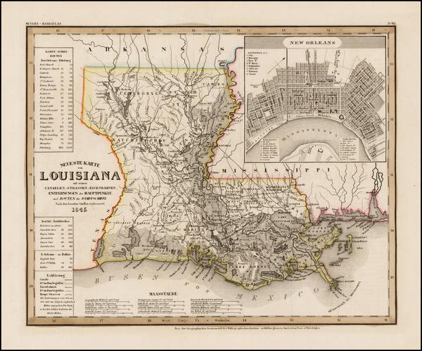 2-South and Louisiana Map By Joseph Meyer  &  Carl Radefeld
