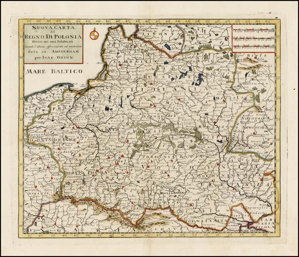 34-Poland and Ukraine Map By Giambattista Albrizzi