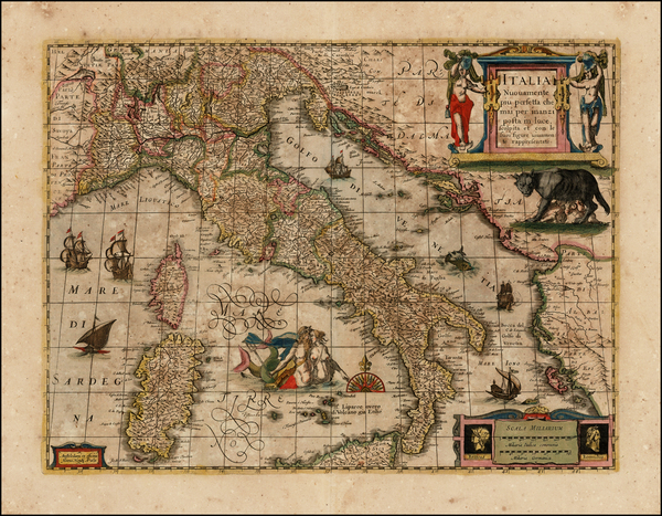 92-Italy and Other Islands Map By Henricus Hondius