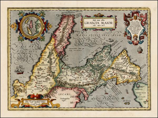 95-Italy Map By Abraham Ortelius