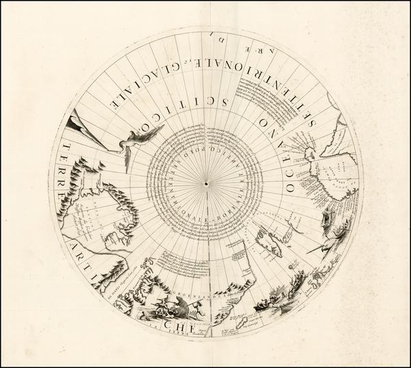 78-Polar Maps, Canada, Russia and Scandinavia Map By Vincenzo Maria Coronelli