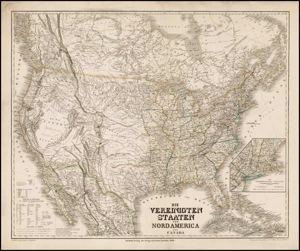 United States, Texas, Southwest, Rocky Mountains and Canada Map By Heinrich Keipert