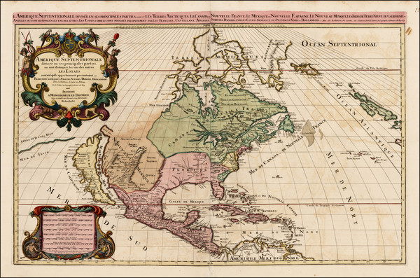 54-North America and California Map By Alexis-Hubert Jaillot