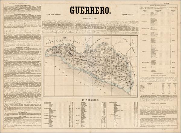 56-Mexico Map By Antonio Garcia y Cubas