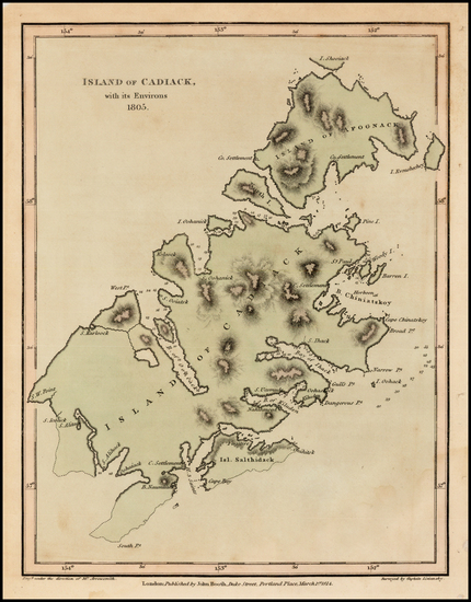80-Alaska Map By Yuri Federovich Lisiansky