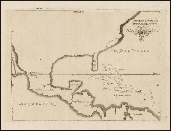 90-United States, Florida, South, Southeast and Mexico Map By Antonio de Herrera y Tordesillas