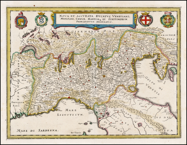 65-Italy and Northern Italy Map By Matthaus Merian