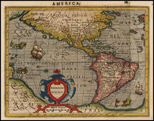 56-Western Hemisphere, South America and America Map By Jodocus Hondius -  Gerard Mercator