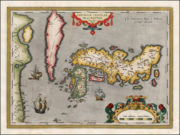25-Japan and Korea Map By Abraham Ortelius