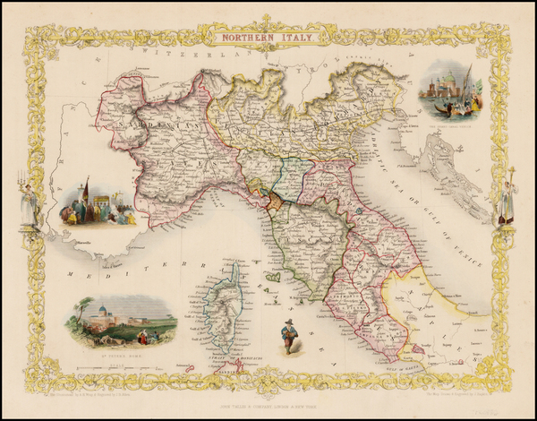 90-Italy and Balearic Islands Map By John Tallis