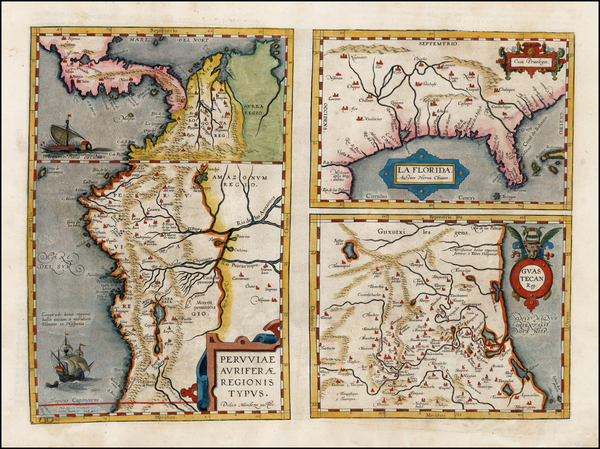 80-Florida, South, Southeast, Central America and South America Map By Abraham Ortelius