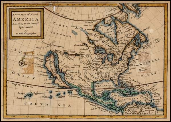 37-North America and California Map By Herman Moll