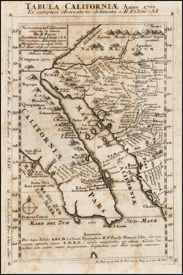 45-Southwest, Mexico, Baja California and California Map By Fr. Eusebio Kino