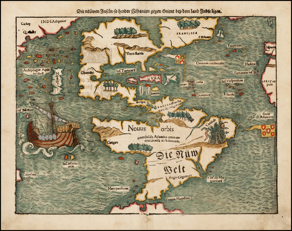 15-Western Hemisphere, North America, South America, Pacific and America Map By Sebastian Munster
