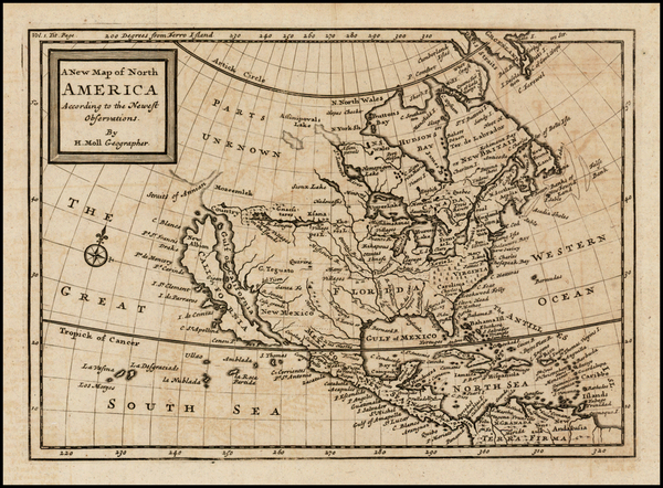 93-North America and California Map By Herman Moll