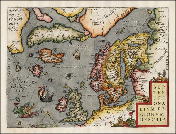 45-Atlantic Ocean, British Isles, Scandinavia and Balearic Islands Map By Abraham Ortelius