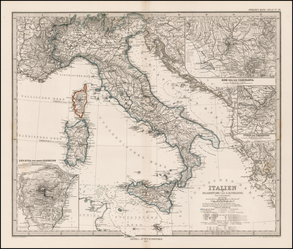 48-Italy Map By Adolf Stieler