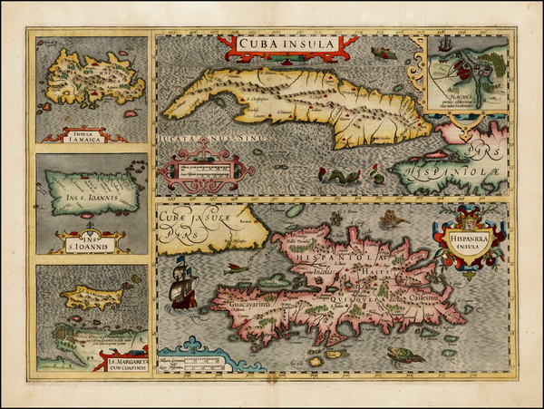 47-Caribbean, Cuba, Jamaica, Hispaniola and Puerto Rico Map By Jodocus Hondius - Mercator